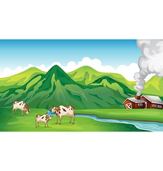 A farm house and cows vector image