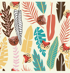 abstract color tropical leaves flat animal vector image
