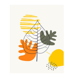 abstract shapes with autumn leaves vector image