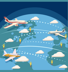 Aviation global logistic concept cartoon style vector