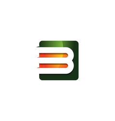B 3d colorful square letter logo icon design vector