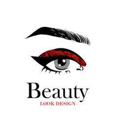 Beautiful eye with red glitter makeup fashion eye vector