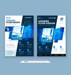 Blue flyer template layout design corporate vector
