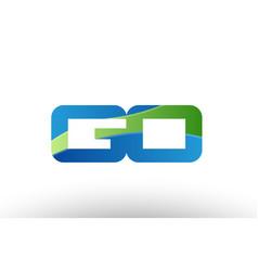 blue green go g o alphabet letter logo vector image vector image