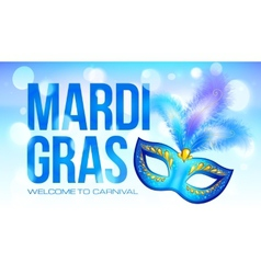 Blue mardi gras banner template with carnival mask vector