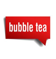 Bubble tea red 3d speech bubble vector