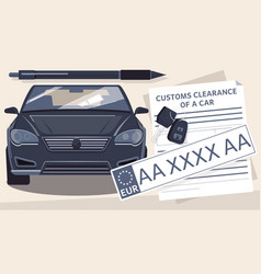 Car registration flat composition vector