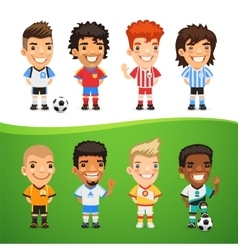 Cartoon International Soccer Players Set vector image
