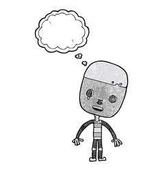 Cartoon sad robot with thought bubble vector