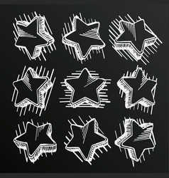 Chalkboard sketch of hand drawn star set template vector