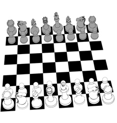 Chess set game pieces line drawing 3D vector image