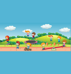 children playing in playground vector image
