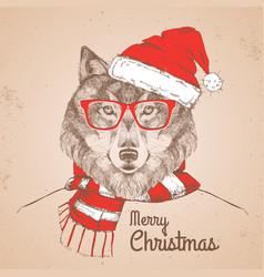 christmas hipster fashion animal wolf vector image