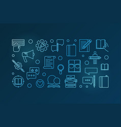content strategy blue horizontal outline vector image