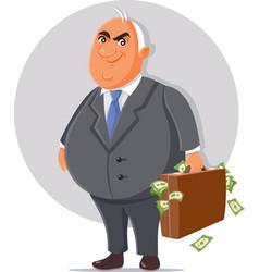 Corrupt politician with briefcase full money vector
