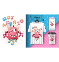 Crazy monster - poster and merchandising vector