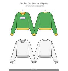Crop top tee fashion flat technical drawing vector