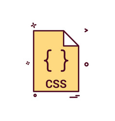 Css file file extension file format icon design vector
