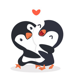 cute penguins happy couple hug vector image