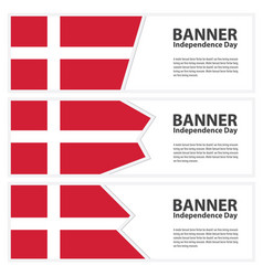 Denmark flag banners collection independence day vector