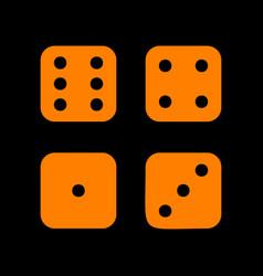 devils bones ivories sign orange icon on black vector image