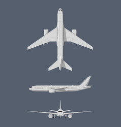 different sides of modern airplane vector image