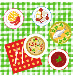 Dining table top view vector