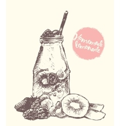 Drawn homemade lemonade sketch vector image