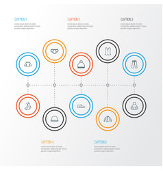 Dress outline icons set collection of pompom vector