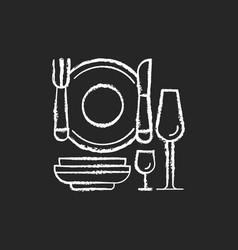 eating utensils chalk white icon on black vector image