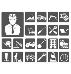 engineer and construction icon buttons set vector image vector image