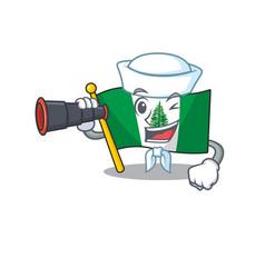 Flag norfolk island cartoon happy sailor style vector