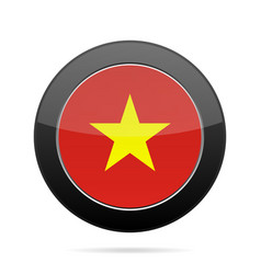 flag of vietnam shiny black round button vector image