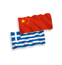 flags greece and china on a white background vector image