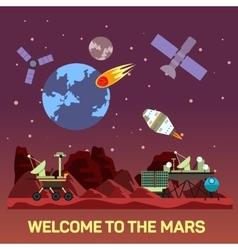 Flat mars colony vector