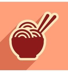 Flat with shadow icon Japanese noodles stylish vector