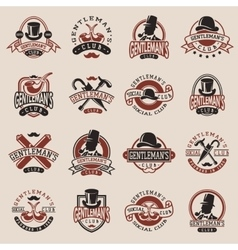 Gentlemans vintage badges vector