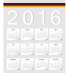 German 2016 calendar with shadow angles vector