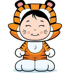 girl tiger vector image