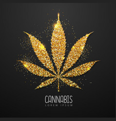 Golden cannabis leaf silhouette vector