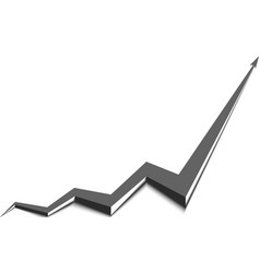 Gray arrow graph goes up white background vector