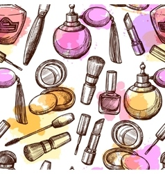 Hand Drawn Cosmetics Seamless Pattern vector