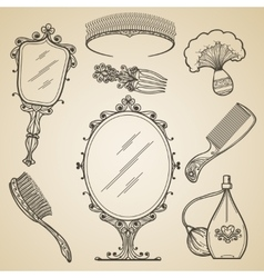 Hand drawn vintage beauty and retro makeup items vector