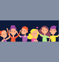 happy kids background children laugh wave hands vector image