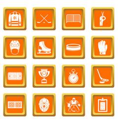 Hockey icons set orange vector