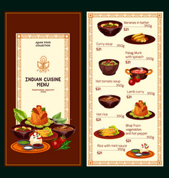 indian cuisine meat curry rice vegetable dishes vector image