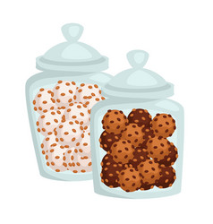 Jars with cookies or candies chocolate or glaze vector