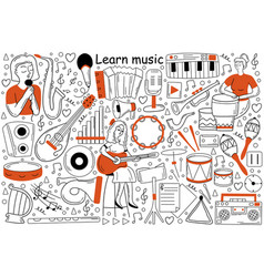 learn music doodle set vector image