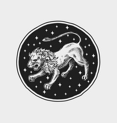 Leo zodiac icon astrology horoscope with sign vector