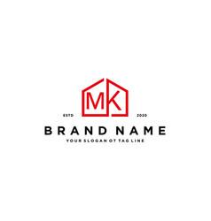 Letter mk home logo design concept vector